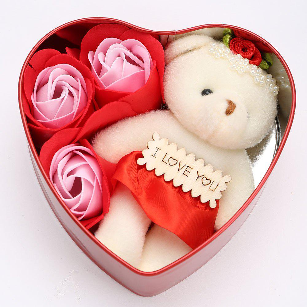 Latest 3PCS Soap Roses and 1PC Bear in a Iron Box Valentine's Day Love Gift