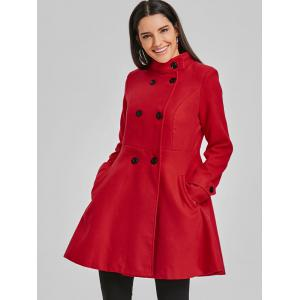 Double Breasted Wool Skirted Coat -