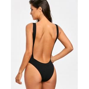Ribbed High Leg One Piece Swimwear No Pad -