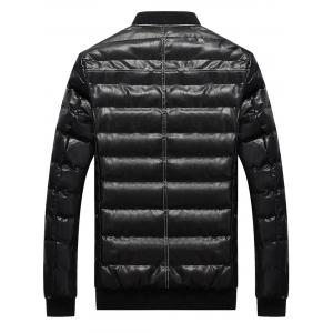 Suture Zip Up PU Leather Padded Jacket -