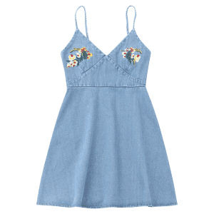 Floral Embroidered Denim Pinafore Mini Dress -