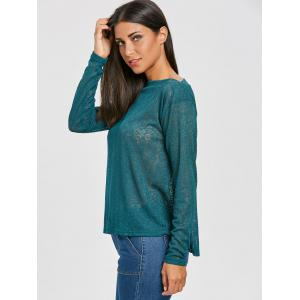 Slash Neck Semi Sheer Sweater -