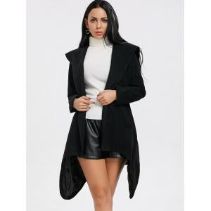 Black S Hooded Wrap Belted Coat | RoseGal.com