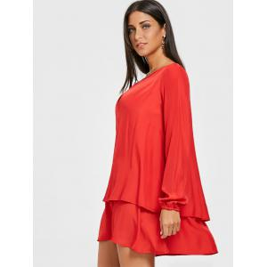 Front Cut Out Long Sleeve Layered Dress -