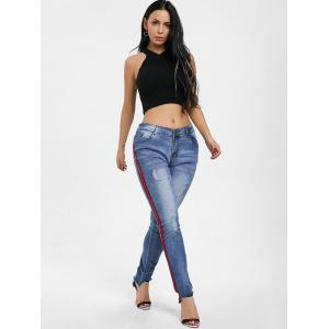 Ripped Raw Hem Side Stripe Jeans -