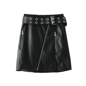 Zip Up Faux Leather Studded Mini Skirt -