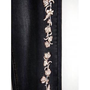 Embroidered Bleach Wash Pencil Jeans -