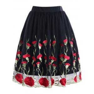 Plus Size Floral Embroidered Skirt -