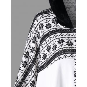 Snowflake Print Hooded Cape Coat -