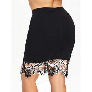 Plus Size Lace Hem Bodycon Skirt -