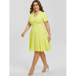 Plus Size Empire Waist V Neck Dress -