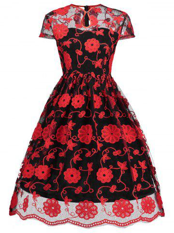 Latest Keyhole Embroidered Mesh Vintage Dress