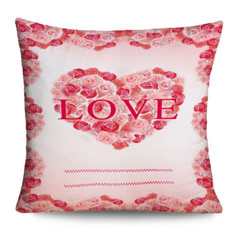 Online Valentine's Day Love Heart Roses Print Pillowcase