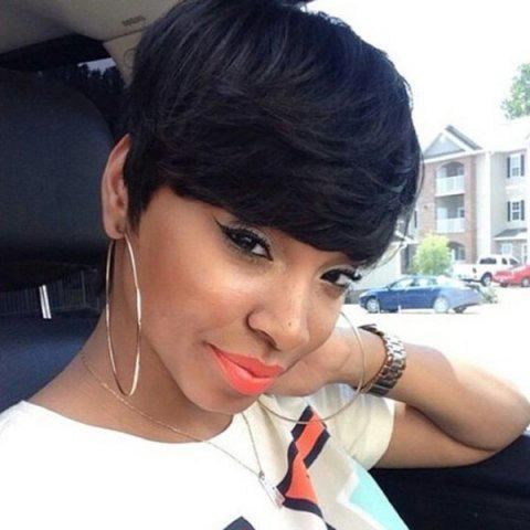 Fashion Short Layered Oblique Bang Straight Synthetic Wig