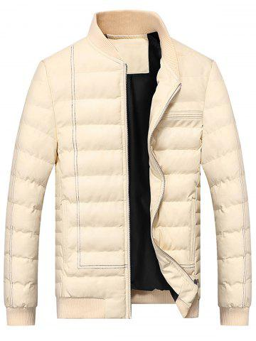 Fancy Suture Zip Up PU Leather Padded Jacket