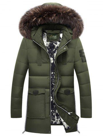 Faux Fur Detachable Hooded Pockets Zip Up Down Coat