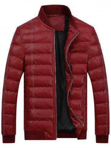 Suture Zip Up PU Leather Padded Jacket