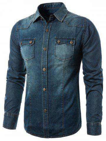 Store Bleach Wash Denim Cargo Shirt