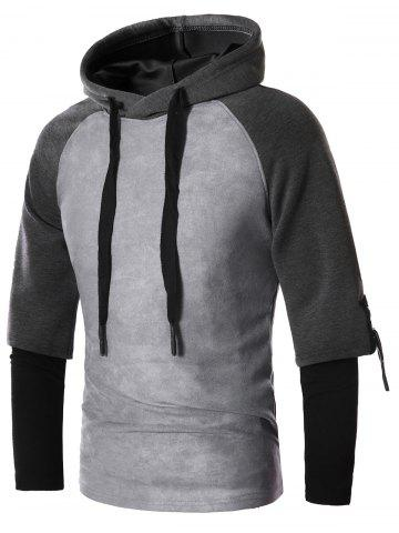 Suede Panel Faux Twinset Drawstring Pullover Hoodie