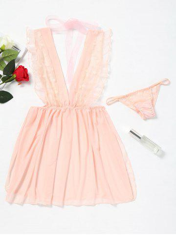 Fashion Ruffled Plunge Neck Mesh Babydoll