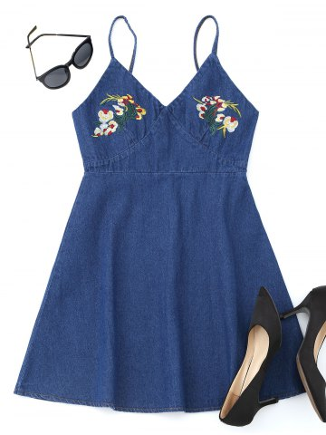 Fashion Floral Embroidered Denim Pinafore Mini Dress