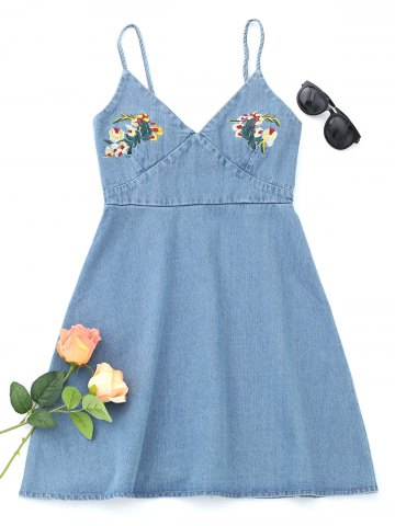 Sale Floral Embroidered Denim Pinafore Mini Dress