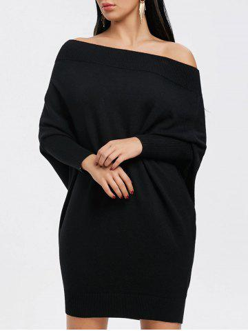 Sale Batwing Sleeve Off The Shoulder Kint Dress
