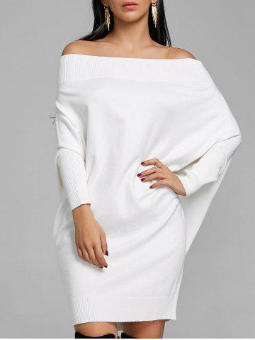 Online Batwing Sleeve Off The Shoulder Kint Dress