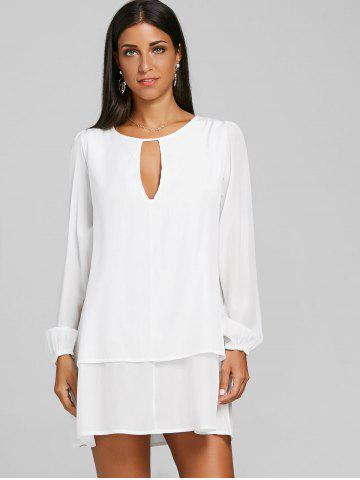 Front Cut Out Long Sleeve Layered Dress