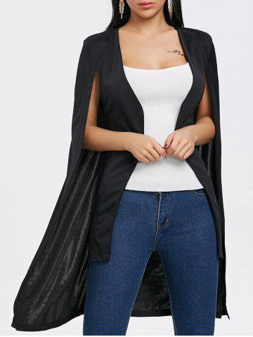 Cheap Padded Shoulder Duster Cape Coat