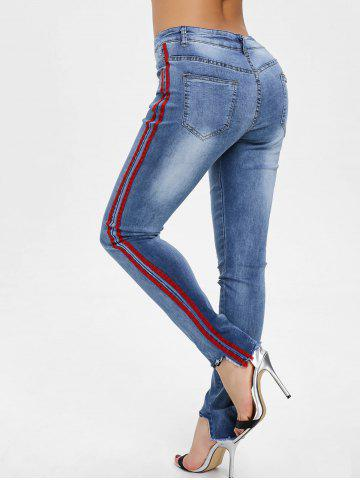 Discount Ripped Raw Hem Side Stripe Jeans