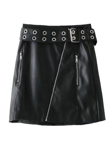 Unique Zip Up Faux Leather Studded Mini Skirt