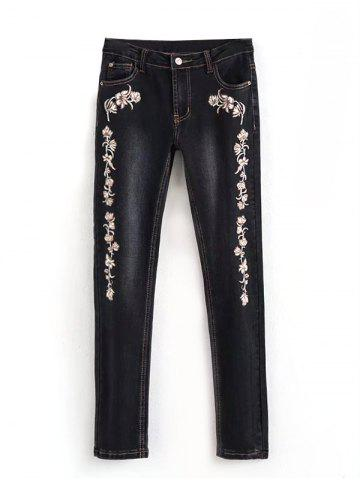 Discount Embroidered Bleach Wash Pencil Jeans