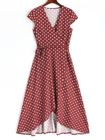 Trendy Polka Dot Wrap Asymmetrical Maxi Dress