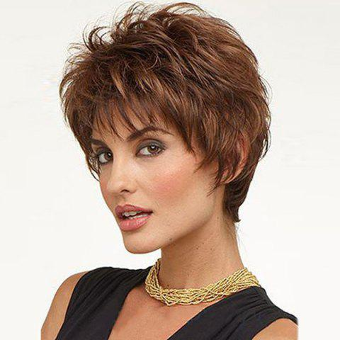 Short Inclined Bang Shaggy Straight Human Hair Wig