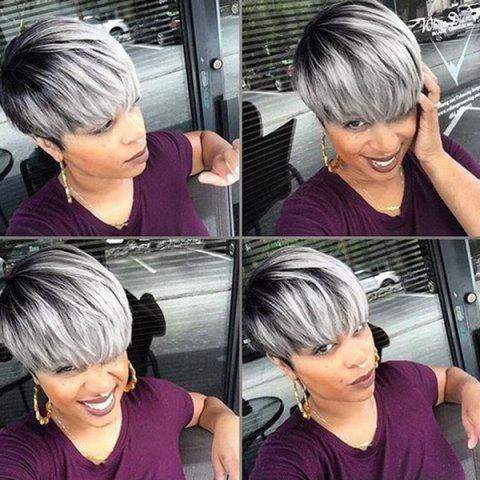 Best Short Side Bang Colormix Straight Human Hair Wig