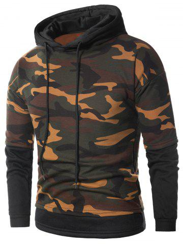 Camouflage Faux Twinset Fleece Pullover Hoodie