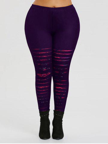 Hot Ripped Rose Print Plus Size Workout Leggings