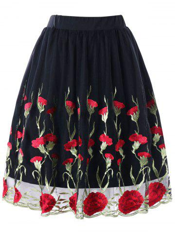 New Plus Size Floral Embroidered Skirt