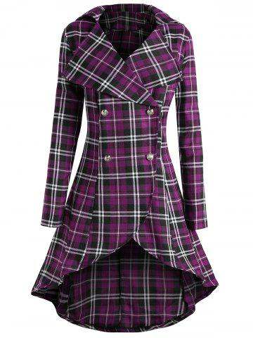 Cheap Plus Size Double Breasted Plaid Coat