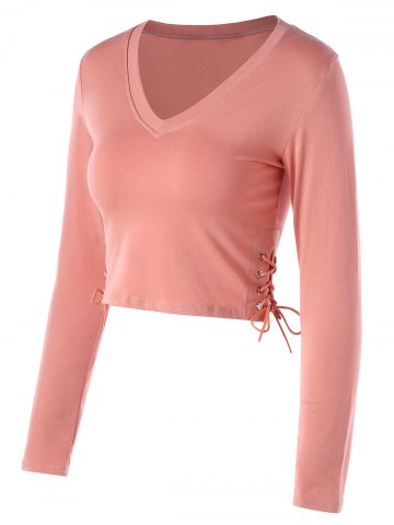 Cropped Side Lace Up Long Sleeve Top