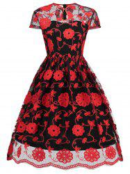 Keyhole Embroidered Mesh Vintage Dress -