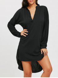 Long Sleeve V Neck High Low Dress -