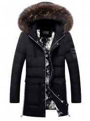 Faux Fur Detachable Hooded Pockets Zip Up Down Coat -
