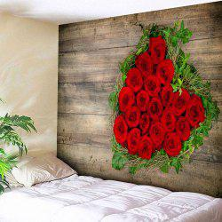 Valentine's Day Roses Wood Grain Wall Art Tapestry -