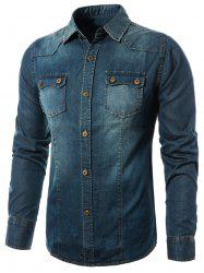 Bleach Wash Denim Cargo Shirt -