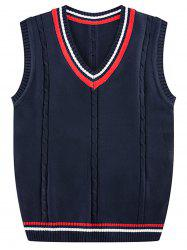 Stripe Ribbed V Neck Kink Knitted Vest -