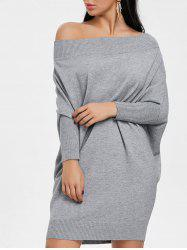 Batwing Sleeve Off The Shoulder Kint Dress -