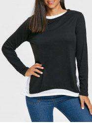 Two Tone Color Long Sleeve Top -