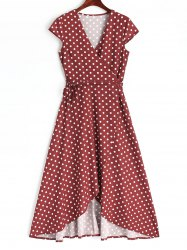 Polka Dot Wrap Asymmetrical Maxi Dress -
